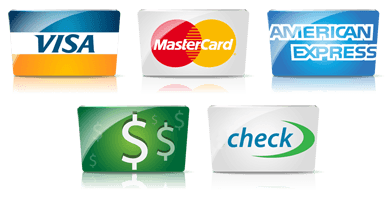 Methods of payment we accept - cash, check, credit cards